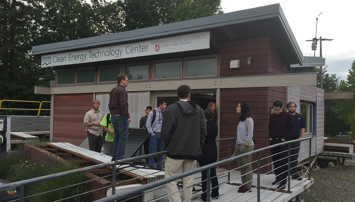 Shoreline's CET students present a Net Zero Energy Building design to industry professionals